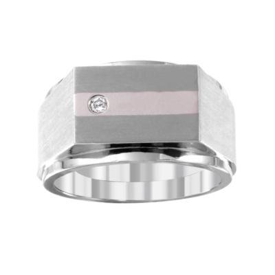 Mens Diamond Accent White 14K Gold Titanium Fashion Ring