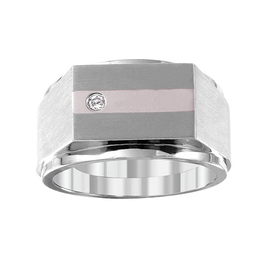 Mens Diamond Accent White 14k Gold Titanium Fashion Ring