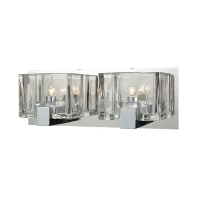 Ridgecrest 2 Light Vanity In Polished Chrome With Clear Cast Glass