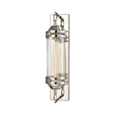 Gramercy 1 Light Wall Sconce In Polished Nickel With Clear Glass