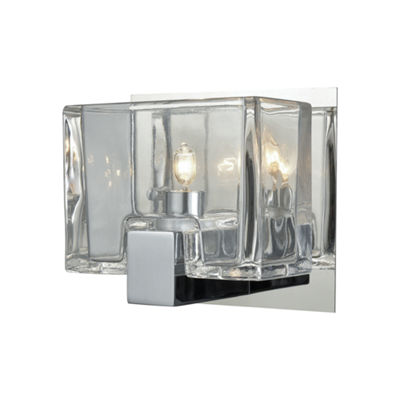 Ridgecrest 1 Light Vanity In Polished Chrome With Clear Cast Glass