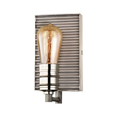 Corrugated Steel 1 Light Vanity In Weathered Zinc And Polished Nickel