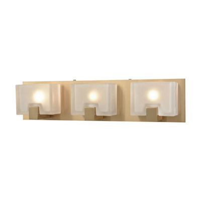 Ridgecrest 3 Light Vanity In Satin Brass With Frosted Cast Glass