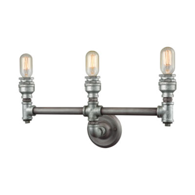 Cast Iron Pipe 3 Light Vanity In Weathered Zinc