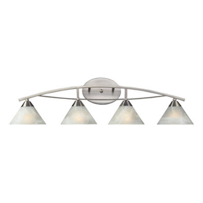 Elysburg 4 Light Vanity In Satin Nickel And White Glass