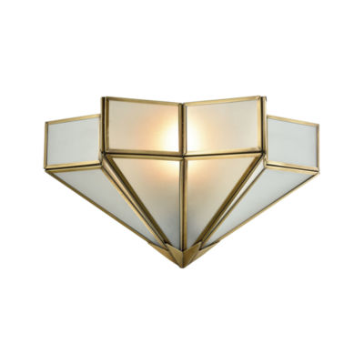 Decostar 1 Light Wall Sconce In Brushed Brass With Frosted Glass