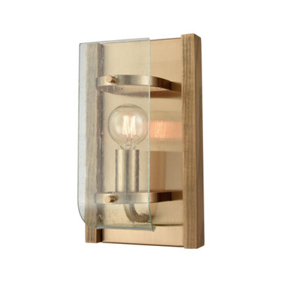 Vindalia 1 Light Wall Sconce In Satin Brass With Wood Slats And Curved Glass