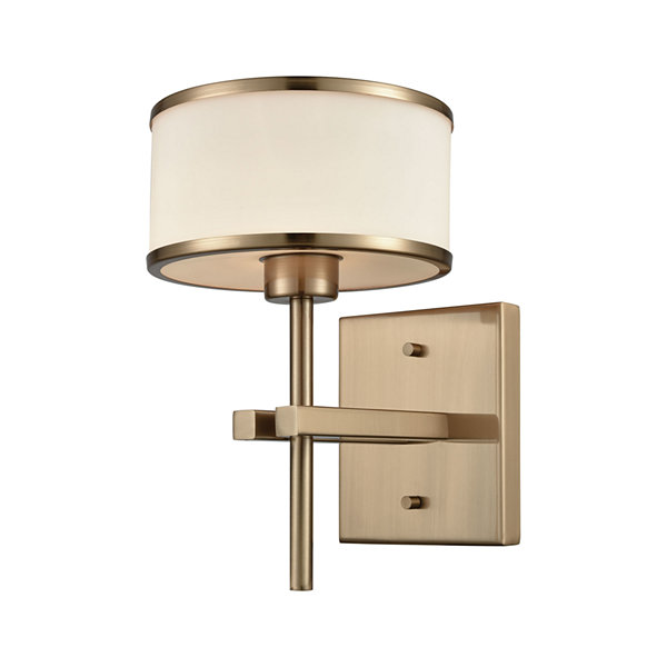 Utica 1 Light Vanity In Satin Brass With Opal White Glass