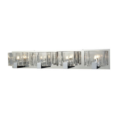 Ridgecrest 4 Light Vanity In Polished Chrome With Clear Cast Glass