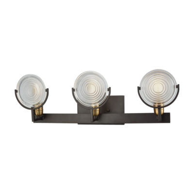 Ocular 3 Light Vanity In Oil Rubbed Bronze With Satin Brass Accents And Clear Railroad Light Glass