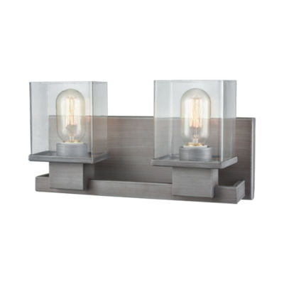 Hotelier 2 Light Vanity In Weathered Zinc With Clear Glass