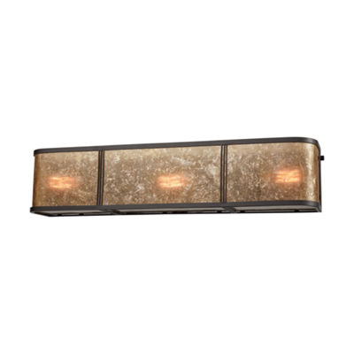 Barringer 3 Light Vanity In Oil Rubbed Bronze With Tan Mica