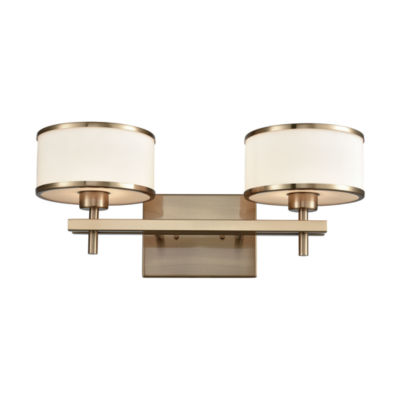Utica 2 Light Vanity In Satin Brass With Opal White Glass