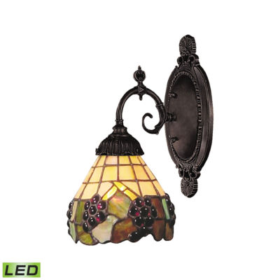 Mix-N-Match 1 Light LED Wall Sconce In Vintage Antique And Stained Glass