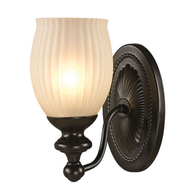 Park Ridge 1 Light Vanity In Oil Rubbed Bronze And Reeded Glass