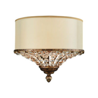 Crystal Spring 2 Light Wall Sconce In Spanish Bronze With Cream Fabric Shade Inside Beige Organza And Clear Crystal