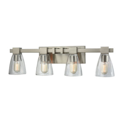 Ensley 4 Light Vanity In Satin Nickel With Clear Glass