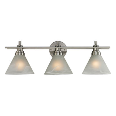 Pemberton 3 Light Vanity In Brushed Nickel And Marbelized White Glass