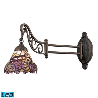 Mix-N-Match 1 Light LED Swingarm In Tiffany BronzeAnd Multicolor Glass