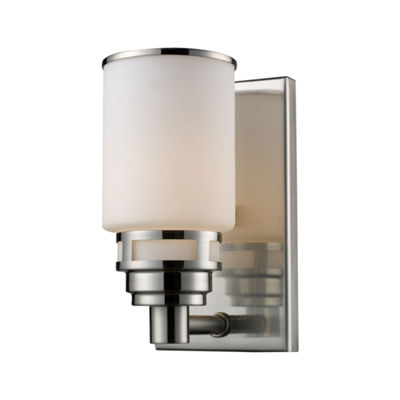 Bryant 1 Light Vanity In Satin Nickel And Opal White Glass