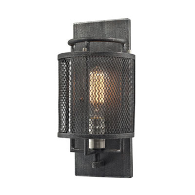 Slatington 1 Light Wall Sconce In Silvered Graphite And Brushed Nickel