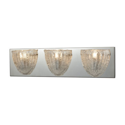 Verannis 3 Light Vanity In Polished Chrome With Hand-Formed Clear Sugar Glass