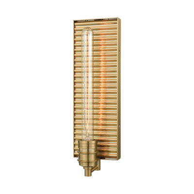 Corrugated Steel 1 Light Wall Sconce In Satin Brass
