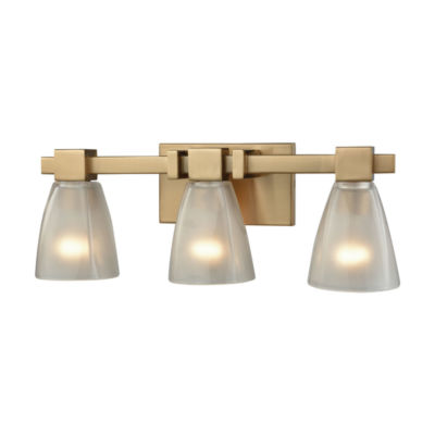 Ensley 3 Light Vanity In Satin Brass With FrostedGlass