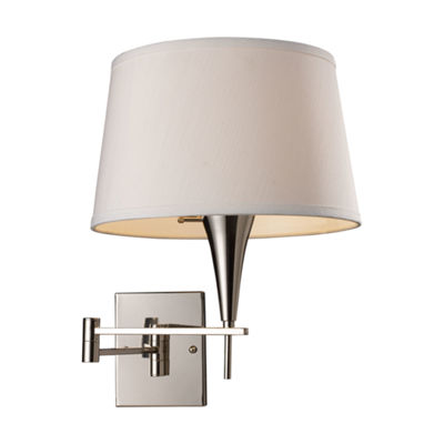 Swingarms 1 Light Swingarm Sconce In Polished Chrome And Off White