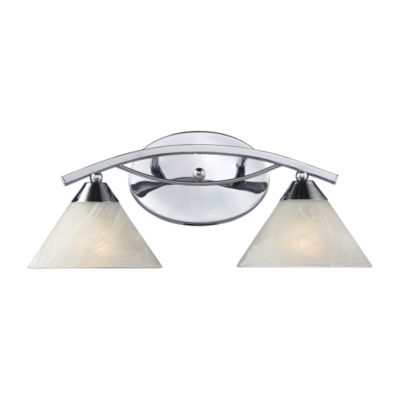 Elysburg 2 Light Vanity In Polished Chrome And White Glass