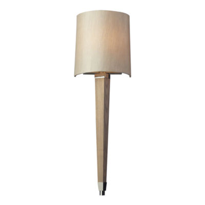 Jorgenson 1 Light Wall Sconce In Polished Nickel And Taupe Wood