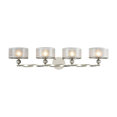 Corisande 4 Light Vanity In Polished Nickel With Silver Organza Shades