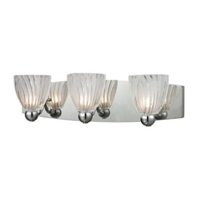 Lindale 3 Light Vanity In Polished Chrome And Scalloped Glass