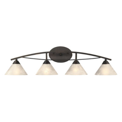 Elysburg 4 Light Vanity In Oil Rubbed Bronze And White Glass