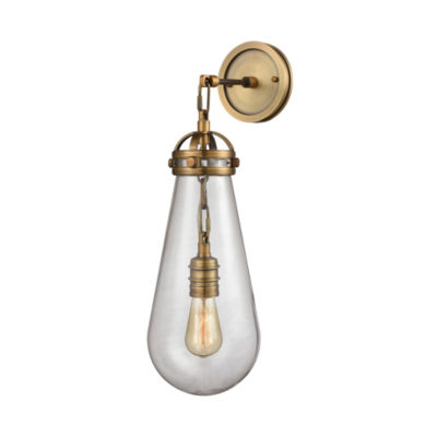 Gramercy 1 Light Wall Sconce In Classic Brass WithClear Glass