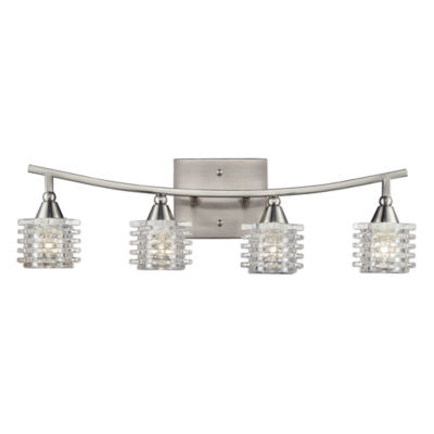 Matrix 4 Light Vanity In Satin Nickel And Clear Glass