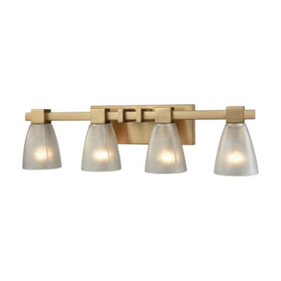 Ensley 4 Light Vanity In Satin Brass With Frosted Glass