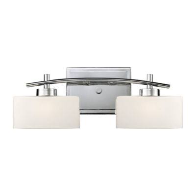 Eastbrook 2 Light Vanity In Polished Chrome And Opal White Glass