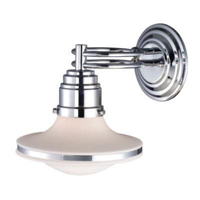 Retrospective 1 Light Wall Sconce In Polished Chrome And Opal White Glass