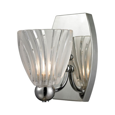 Lindale 1 Light Vanity In Polished Chrome And Scalloped Glass