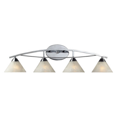 Elysburg 4 Light Vanity In Polished Chrome And White Glass