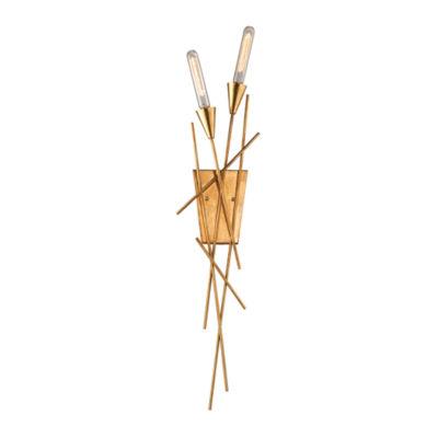 Sticks 2 Light Wall Sconce In Antique Gold Leaf