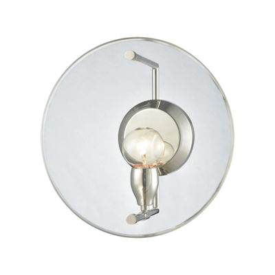 Disco 1 Light Wall Sconce In Polished Nickel With Clear Acrylic Panel