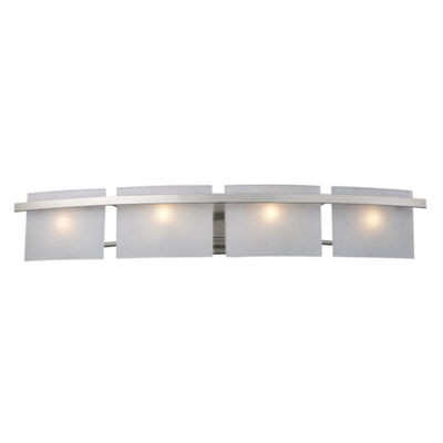 Briston 4 Light Vanity In Satin Nickel And Frosted White Glass