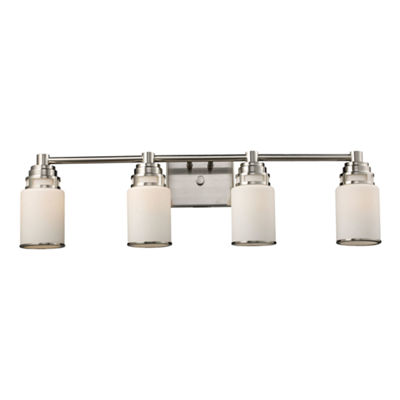 Bryant 4 Light Vanity In Satin Nickel And Opal White Glass