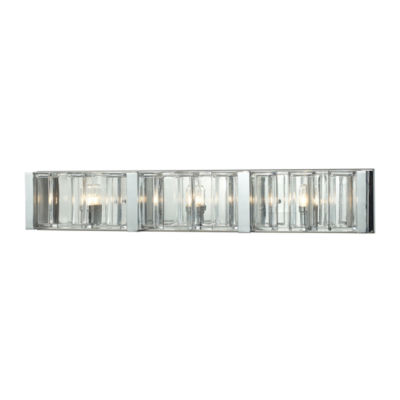 Corrugated Glass 3 Light Vanity In Polished Chrome