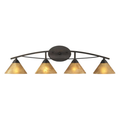 Elysburg 4 Light Vanity In Oiled Bronze And Tea Stained Brown Glass