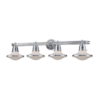 Retrospectives 4 Light Vanity In Polished Chrome With Opal White Glass