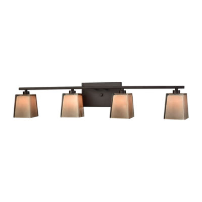 Serenity 4 Light Vanity In Oil Rubbed Bronze With Tan Cube Glass