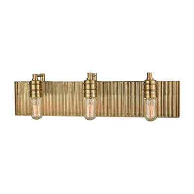 Corrugated Steel 3 Light Vanity In Satin Brass